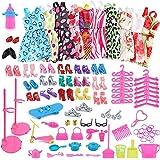 Wazonton 10 Pcs Barbie Clothes 18 Pair Shoes 57 Pcs Barbie Kitchen Tools Doll Accessories