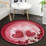 Vdsrup Valentine's Day Love Glitter Rose Flowers Doormat Valentine Heart Round Floor Mat Non Slip Carpet Yoga Mat Rug for Ent