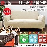 【FITS!】ソファーカバー2way フィットタイプ 肘付き 2人掛け用 パウダーグリーン
