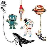 Cute Enamel Lapel Pin Set - 6pcs Cartoon Brooch Pin Badges for Clothes Bags Backpacks - Rainbow Cactus Succulent Leaves Pinea