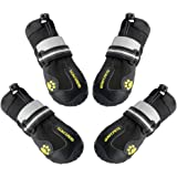 QUMY 4 Piece Dog Boots Waterproof Shoes for Large Dogs with Reflective Velcro Rugged Anti-Slip Sole, Black