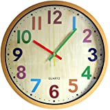 TOHOOYO Wall Clock, 12 Inch Easy to Read Silent Non-Ticking Colorful Battery Operated Clock,for Bedroom,Living Room,Kitchen,O