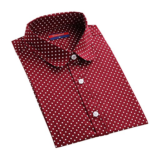 Dioufond 純色 ポルカドット レディースシャツ  五つ色と八つサイズ (S,R)