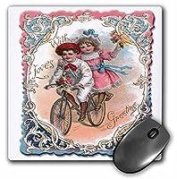 3drose LLC 8x 8x 0.25インチマウスパッド、かわいい男の子と女の子、on aタンデム自転車with Ornate Victorianフレーム–(MP 170261_ 1)