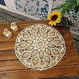 アンティック調 田園風 ハンドメイド 透かし編み テーブルクロス テーブルカバー ドイリー サークル ベージュ 直径60cm