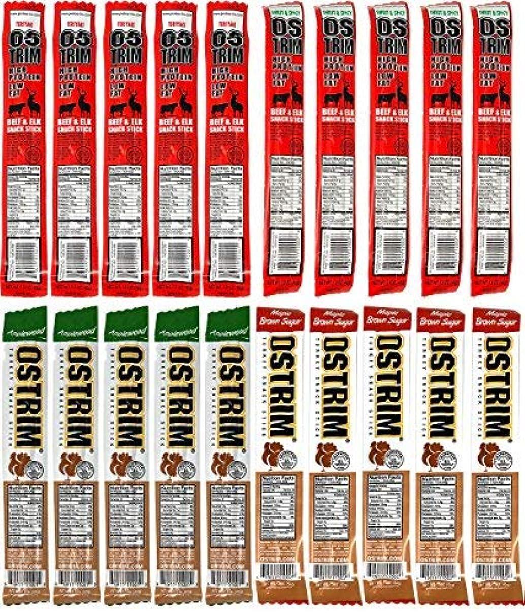 文化熟した脇にOstrim High Protein Snack Beef & Elk and Turkey Sticks Variety Pack of 20 [並行輸入品]
