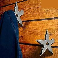 コートフック忍者ダーツThrowing Starステンレススチールクリエイティブ壁ドアフック服帽子ハンガーホルダーホーム装飾 Pack of 2