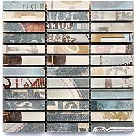 【B'stile】ボーダーモザイク壁タイル「PORTLAND - ポートランド」Mosaico-Break(陶器質|200mm角|屋内壁用)1シート