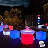 YESIE 12-Inch Cordless LED Cube Chair Light, New Removable and Easy Charging LED Module,Corlor Changing and Rechargeable LED
