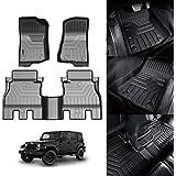 KUST 3D Floor Mats for Jeep Wrangler JL Unlimited 4-Door 2018 2019 2020 2 Row Liner Set All Weather Durable Odorless TPE Floo