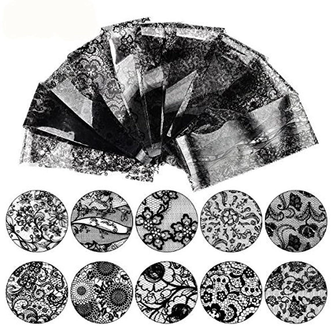 スキップ買うコイン16枚 20cm ブラック レース ネイルホイル ネイル転印シール ネイルシール ネイルステッカー ネイルデコ ネイルアート [並行輸入品]