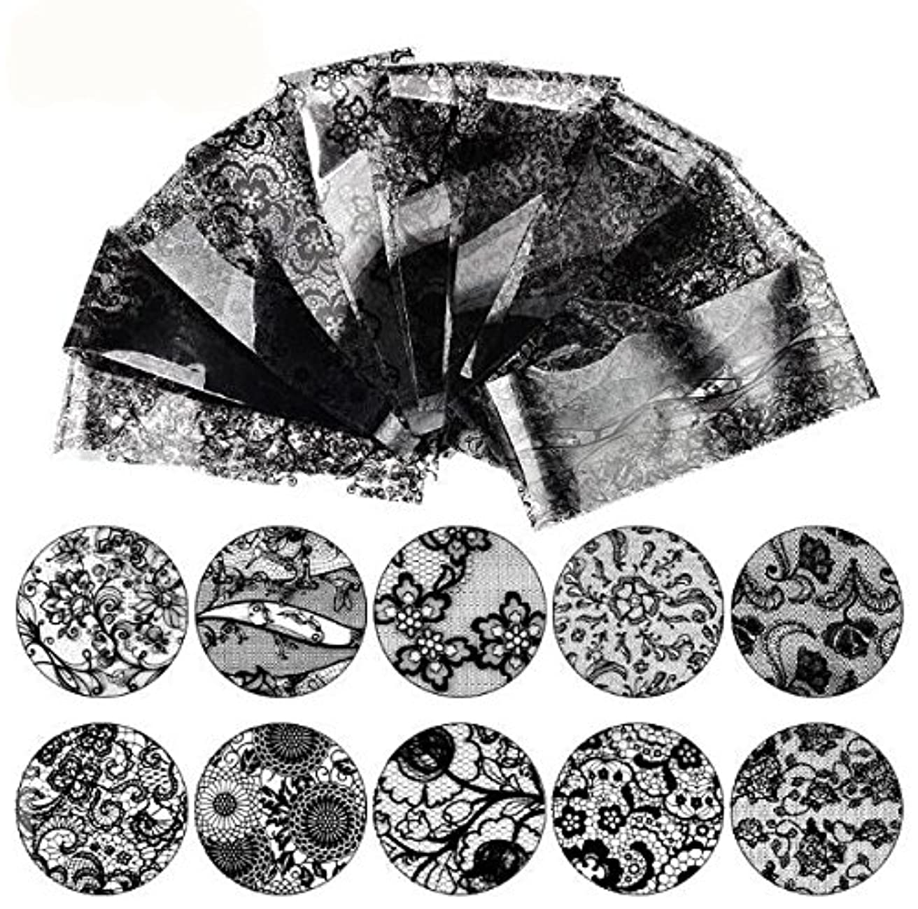 特別に胸これら16枚 20cm ブラック レース ネイルホイル ネイル転印シール ネイルシール ネイルステッカー ネイルデコ ネイルアート [並行輸入品]