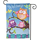 YISHOW Welcome Owls Family Garden Flag Double Sided Vertical House Flags Welcome Owls Family Yard Signs Outdoor Decor 12.5 X