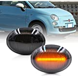 NSLUMO Amber LED Side Marker Light for 07-19 Fiat 500 500e 500c Abarth Smoked Lens 40-SMD Amber Front Marker Lights Replace O