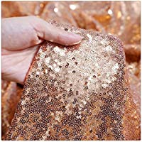 (4 yards, Rose Gold) - 4 Yards Rose Gold Christmas sequin fabric DIY party dress Fabric