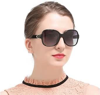 OvMax サングラス レディース 偏光レンズ UVカット 紫外線カット ビックフレーム ケース メガネ拭き付き ブラック