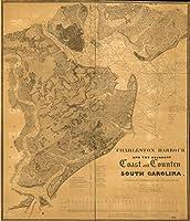Historic 1825マップ|チャールストンHarbourと隣接する海岸と国、South Carolina :で間隔で調査1823、1824、1825 38in x 44in 5150350_3844