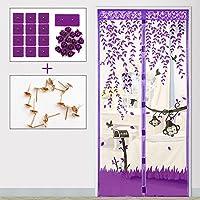 メッシュ カーテン,蚊パティオ スクリーンの魔法のドア メッシュ耐久性のあるグラスファイバー続けるバグや蚊-A
