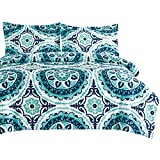 Teal Quilt Cover Set - by Wake In Cloud, Turquoise Bohemian Boho Chic Mandala Medallion Printed on White, Soft Microfiber Doona Cover Bedding (3pcs, Super King Size)
