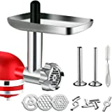 Metal Food Grinder Attachment for KitchenAid Stand Mixers, G-TING Meat Grinder Attachment Included 2 Sausage Stuffer Tubes, 3