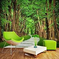 Lixiaoer カスタム写真の壁紙木の森石の道3Dビジュアルアート写真の背景壁の絵画リビングルームのソファ寝室の壁画-200X140Cm