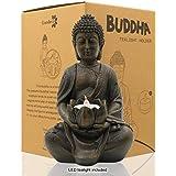 "LIMEIDE Meditating Buddha Statue Figurine Sitting Sculpture Decoration 8"" Tealight Holder/Candle Holder for Home,Garden,Patio"