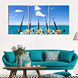 Bedroom Pictures Wall Decor Fishing Rod and Reel Paintings for Living Room Tropical Ocean Scape Artwork 3 Piece Canvas Wall A