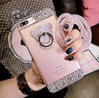 液晶保護フィルム付き iPhone7 ケース シリコン かわいい キラキラ iphone7 ケース 4.7インチ対応カバー デコ ダイヤモンド 高品質 TPU Finger Ring Bumper Case for iPhone 7 落下防止リング付き 衝撃吸収 ゴージャス 女性向けスタンド機能付き ファション熊リング ピンク RKS727A