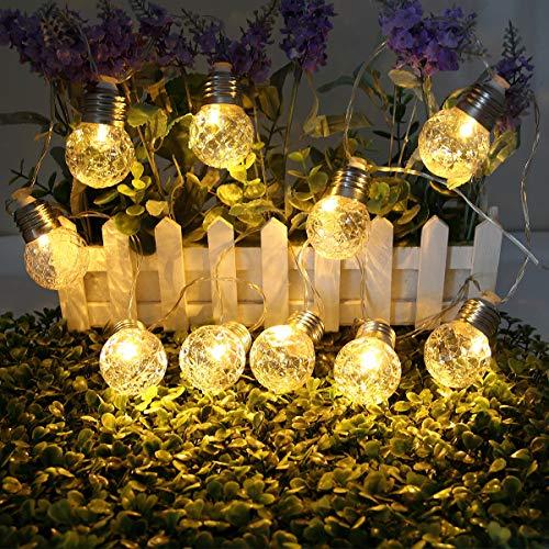 LEDストリングライト ソーラーLEDイルミネーションライト 防雨型 LED電球10個 3.8M 電球色 クリスマス 結婚式 パーティー電飾