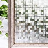 CottonColors(コットンカラーズ) 3D窓用フィルム 浴室目隠しシート 断熱/紫外線カット 無接着剤 再利用可能 プライバシーガラスフィルム(90x200cm)[石道011]