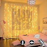 LEDカーテンライト【3M*3本 総計300枚LED】LEDストリングスライト、イルミネーションライト リモコン付属 カーテン飾りライト、クリスマス/結婚式/誕生日/パーティー/学園祭/庭/広場/街路樹装飾 (3m*300個LED)