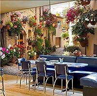 ヨーロッパの街路景観カスタム壁画壁紙花フルウォール壁画プリント家の装飾写真の壁紙-420X280Cm