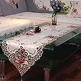 ファッションホーム-格調高い おしゃれ テーブルライナー 赤色の花柄刺繍 ゴールドのカットワーク ベージュ地 インテリア アクセント(タッセル付き)40cmx175cm