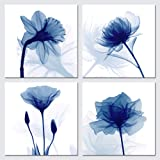 Pyradecor Blue Flickering Flower Modern Abstract Paintings Canvas Wall Art Gallery Wrapped Grace Floral Pictures on Canvas Pr