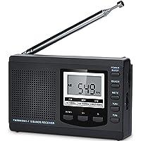 HanRongDa 防災ラジオ 小型 短波/AM/FM/ワイドFM対応 電池式 携帯高感度 60局メモリー デジタル時計…