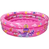 "Big Summer 3 Rings Kiddie Pool, 48""X12"", Kids Swimming Pool, Inflatable Baby Ball Pit Pool (Pink)"