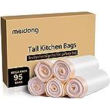 ごみ袋,meidongひも付きゴミ袋 キッチンバッグ ごみ袋頑丈な白いゴミ袋ゴミ箱(5ロール/ 95カウント)