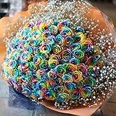キラキラレインボーローズ 七色ばら 100本の花束 オランダから空輸 ラメ付きレインボーバラとキラキララメ白いかすみ草付き 花言葉「奇跡」