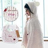 名入れ刺繍代込 ミルフィーユ ギフトセット1(レッド) フード付きバスタオル+スタイ1枚 今治産 (0~3歳用) のし・包装・メッセージカード対応