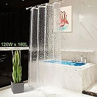 OTraki 浴室カーテン 目隠し 120 x 180cm 防水 防カビ シャワーカーテン 北欧 アイデアグッズ リング付属 取付簡単 クリア 3D 1.2メートル 半透明 清潔感 ユニットバス プライバシー保護