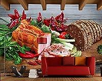 Yosot ハムパン野菜唐辛子カッティングボード食品 3d の壁紙に設定するには、ファーストフードショップレストランダイニングルームキッチンの壁画があります。-450cmx300cm