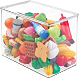 mDesign Stackable Closet Plastic Storage Bin Box with Lid - Container for Organizing Child's/Kids Toys, Action Figures, Crayo
