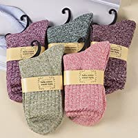 Pack 5 Pairs Women Socks Casual Keep Warm Wool Cashmere Thick Sports Lady Socks