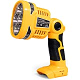 Wokyy Cordless LED Work Light Powered by DeWalt 20V MAX Lithium Ion Batteries, 12W 1120LM Jobsite Spotlight with 110 Degree P