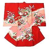 女の子のしめ 子供着物 お宮参り (産着・初着) 女の子用 正絹 お祝着(赤色 ピンクぼかし地 鞠と糸巻き)