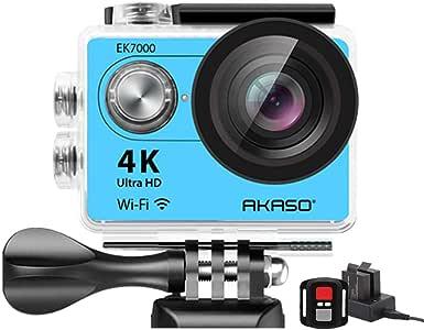 AKASO EK7000 4K WIFI スポーツ カメラ 【1年保証付】 HD 1200万画素30メートル防水170度広角レンズ2インチ LCD 2.4G無線RF リモコンバイクや車に取り付け可能 空撮やスポーツに最適 二つバッテリー&豊富な付属品付き(ブルー)