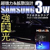 サムスン製 ハイパワー SMD6連 LED ウェルカムランプ 2個1セット/ブルー★レクサス GS350/GS430/GS450h/GS460 190系 前期 後期 対応【メガLED】