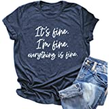 Zciotour Women Its Fine Im Fine Everything is Fine Shirt Inspirational Letter Short Sleeve Graphic Tee Tops