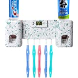 Guiguiyue Toothbrush Holder Automatic Toothpaste Dispenser Set Dustproof with Super Sticky Suction Pad Wall Mounted Kids Hand