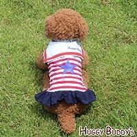 ドッグウェア 犬服 ペット洋服 スタープリントのマリンワンピース(レッドxネイビー)Lサイズ